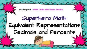 Converting Decimals - Percents - Math Skill Drill with Bra