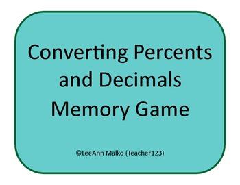 Converting Decimals and Percents Memory Game