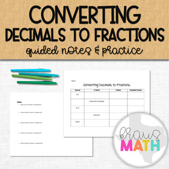 Converting Decimals to Fractions Graphic Organizer