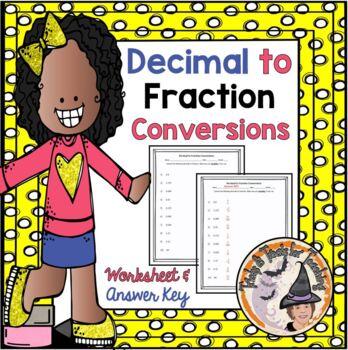 FREE Converting Decimals to Fractions Convert Decimal Frac