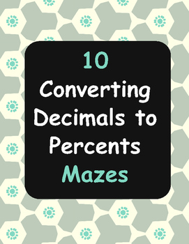 Converting Decimals to Percents Maze