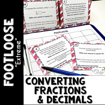 """Converting Fractions and Decimals Task Cards - Footloose """"Turbo"""""""