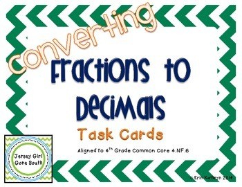 Converting Fractions to Decimals Task Cards - Set of 24 Co