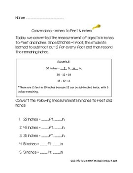 Converting Inches to Feet and Inches