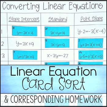 Converting Linear Equations ~ Slope Intercept, Standard, &