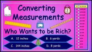 Converting Measurements Power Point Millionaire Game (5th Grade)