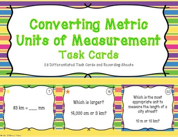 Converting Metric Units of Measurement Differentiated Task Cards