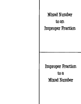 Converting Mixed Numbers & Improper Fractions *FOLDABLE*