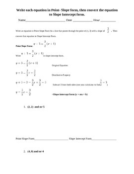 Converting Point Slope Form to Slope Intercept Form