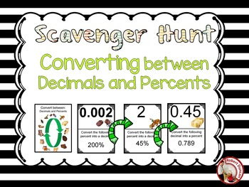 Decimals and Percents - Scavenger Hunt for 7th and 8th grade