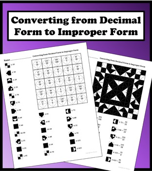 Converting from Decimal Form to Improper Form Color Worksheet