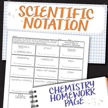 Converting to Scientific Notation Chemistry Homework Worksheet