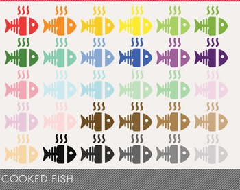 Cooked Fish Digital Clipart, Cooked Fish Graphics, Cooked