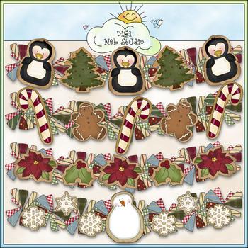 Cookie Garlands Clip Art - Christmas Clip Art - CU Colored
