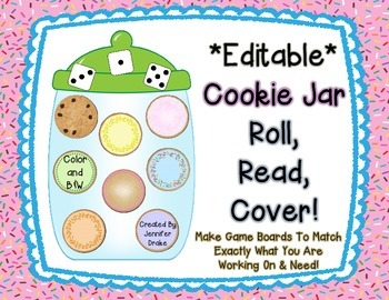 Cookie Jar 'Roll, Read, Cover'  *EDITABLE* Game Boards & M