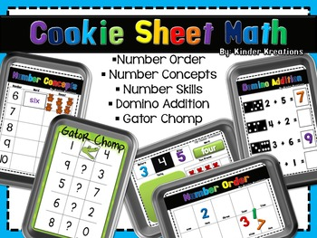 Math Center Activities on a Cookie Sheet - Number Identifi