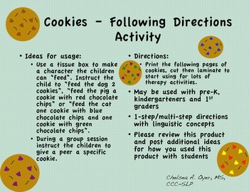 Cookies - Following Directions Activity