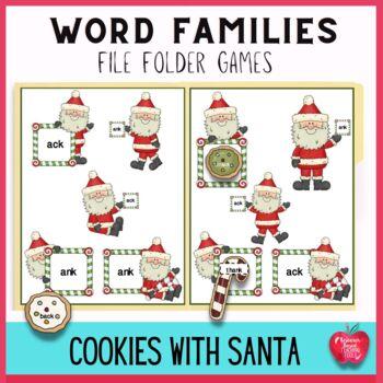 Cookies For Santa Word Families File Folder Games