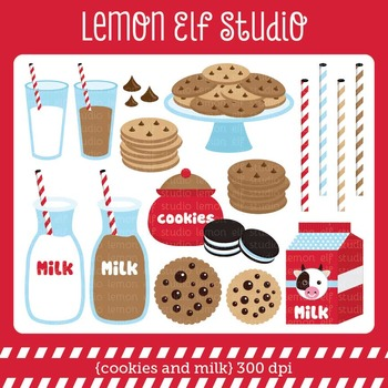 Cookies and Milk-Digital Clipart (LES.CL42A)