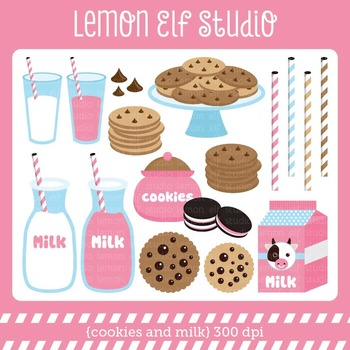 Cookies and Milk-Digital Clipart (LES.CL42B)