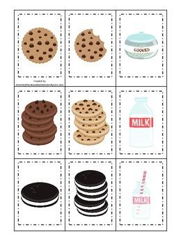 Cookies and Milk themed Memory Matching preschool activity