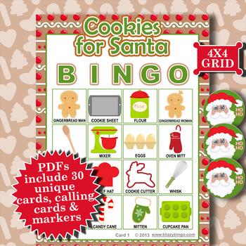 Cookies for Santa 4x4 Bingo 30 Cards