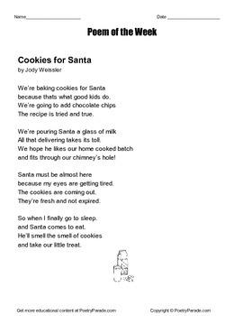 Cookies for Santa Poem of the Week Jody Weissler Christmas Poem