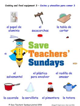 Cooking Equipment in Spanish Worksheets, Games, Activities