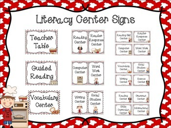 Cooking Themed Literacy Center Signs