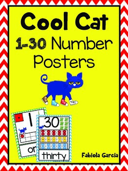 Cool Cat 1-30 Number Posters