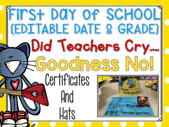 Cool Cat First Day of School Certificates and Hat {Prescho