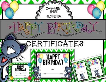 Cool Cat Green Chevron Birthday Certifiates