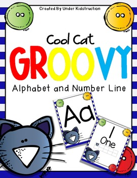Cool Cat Theme Alphabet and Number Posters; D'Nealian Font Poster