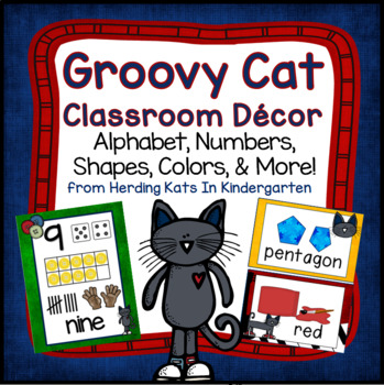 Groovy Cat Themed Classroom Poster Bundle
