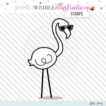 Cool Flamingo Cute Digital B&W Stamp, Cute Flamingo Line A