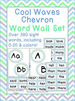Cool Waves Word Wall Letters Headers and Words