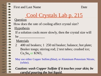 Cooled Crystals Lab Lesson 9