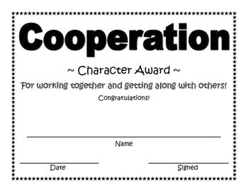 Cooperation Character Award