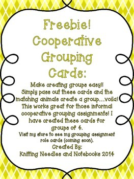 Cooperative Grouping Cards: Make Grouping Easy!