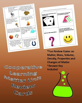 Cooperative Learning Matter Review Cards