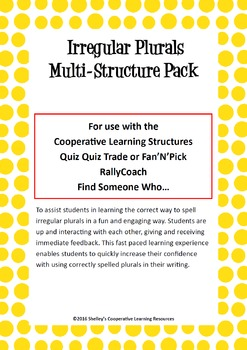 Cooperative Learning Multi-Structure Pack: Irregular Plurals