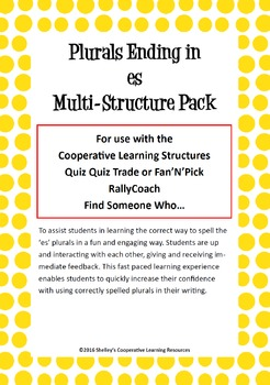 Cooperative Learning Multi-Structure Pack: 'es' Plurals