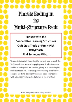 Cooperative Learning Multi-Structure Pack: 'ies' Plurals