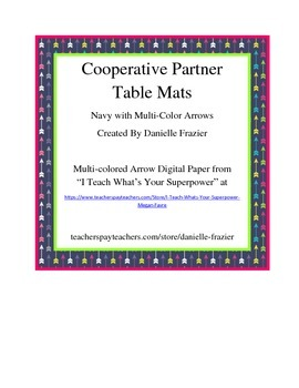 Cooperative Learning Partner Table Mat - Navy and Multi-Co