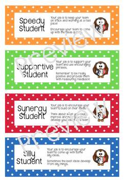 Cooperative learning role cards for group work