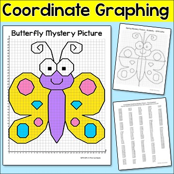 Coordinate Graphing Summer Butterfly Ordered Pairs Mystery