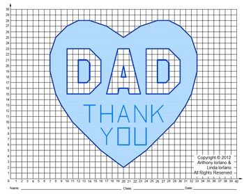 Dad, Father's Day, Valentine's Day, Coordinate Graphing, C
