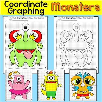 Coordinate Graphing Ordered Pairs Monsters Math Centers