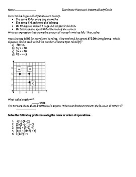 Coordinate Grids & Growth Patterns Study Guide