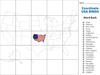Latitude and Longitude Game:  United States Bingo